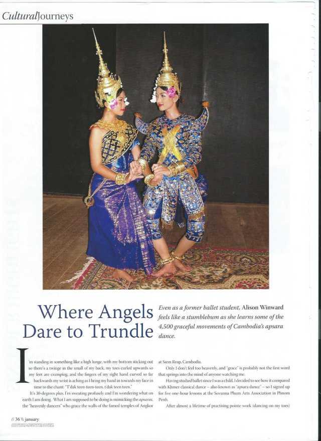 Apsara dancing, Sovanna Phum, Phnom Penh, Cambodia, cutting from Farang magazine