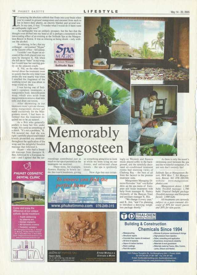 Review of Mangosteen Spa, Phuket