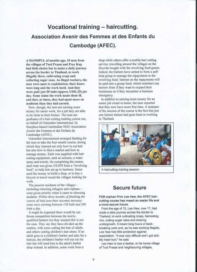 Haircutting, Association Avenir des Femmes et des Enfants du Cambodge (AFEC)