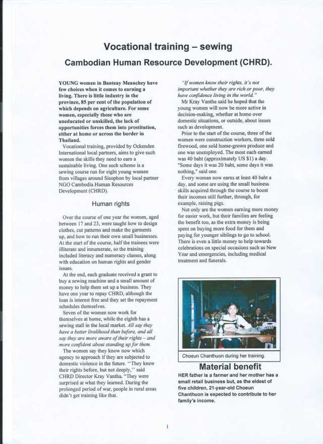 Sewing: Cambodian Human Resource Development (CHRD)