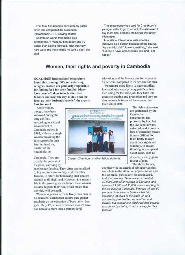 Women, their rights and poverty in Cambodia