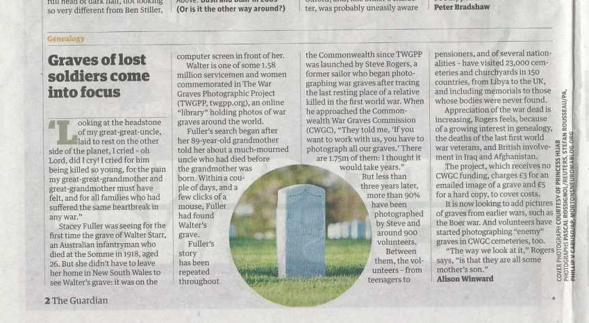 Guardian cutting on The War Graves Photographic Project