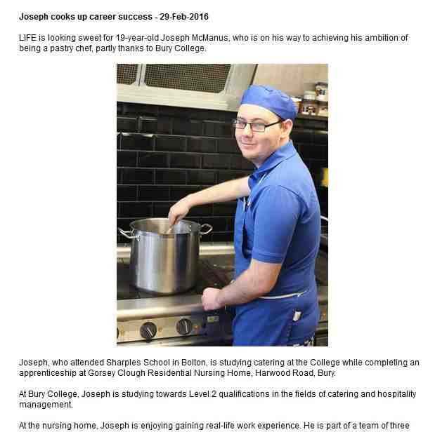 Joseph McManus at work in the kitchen at Gorsey Clough Residential Nursing Home