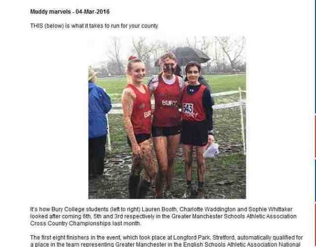 Bury College students Lauren Booth, Charlotte Waddington and Sophie Whittaker at the Greater Manchester Schools Athletic Association Cross Country Championships.