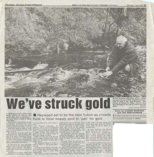 Man panning for gold in Ashworth Valley, near Heywood, Rochdale.